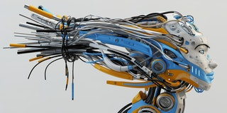 Fashionable robot geisha with bright blue and orange parts, wires in profile, 3d rendering