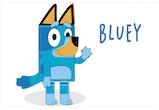 illustration of bluey, cartoon dog