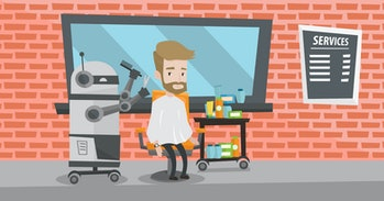 Robot hairdresser cutting hair of young hipster man at barbershop. Robot hairdresser making haircut to caucasian client with scissors in barbershop. Vector flat design illustration. Horizontal layout.