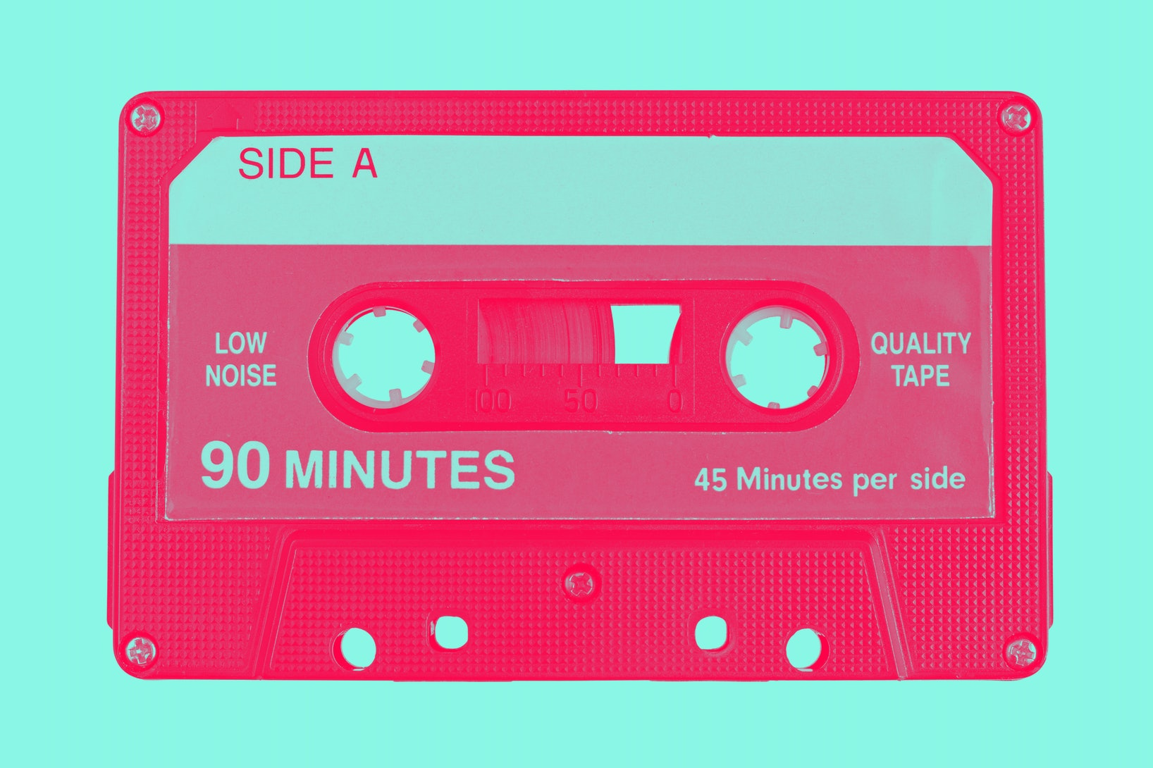 Audio cassette tape isolated, red and white colors