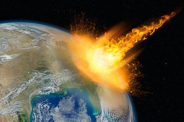 Dangerous asteroid hits planet Earth, total disaster and life extinction, elements of this image furnished by NASA