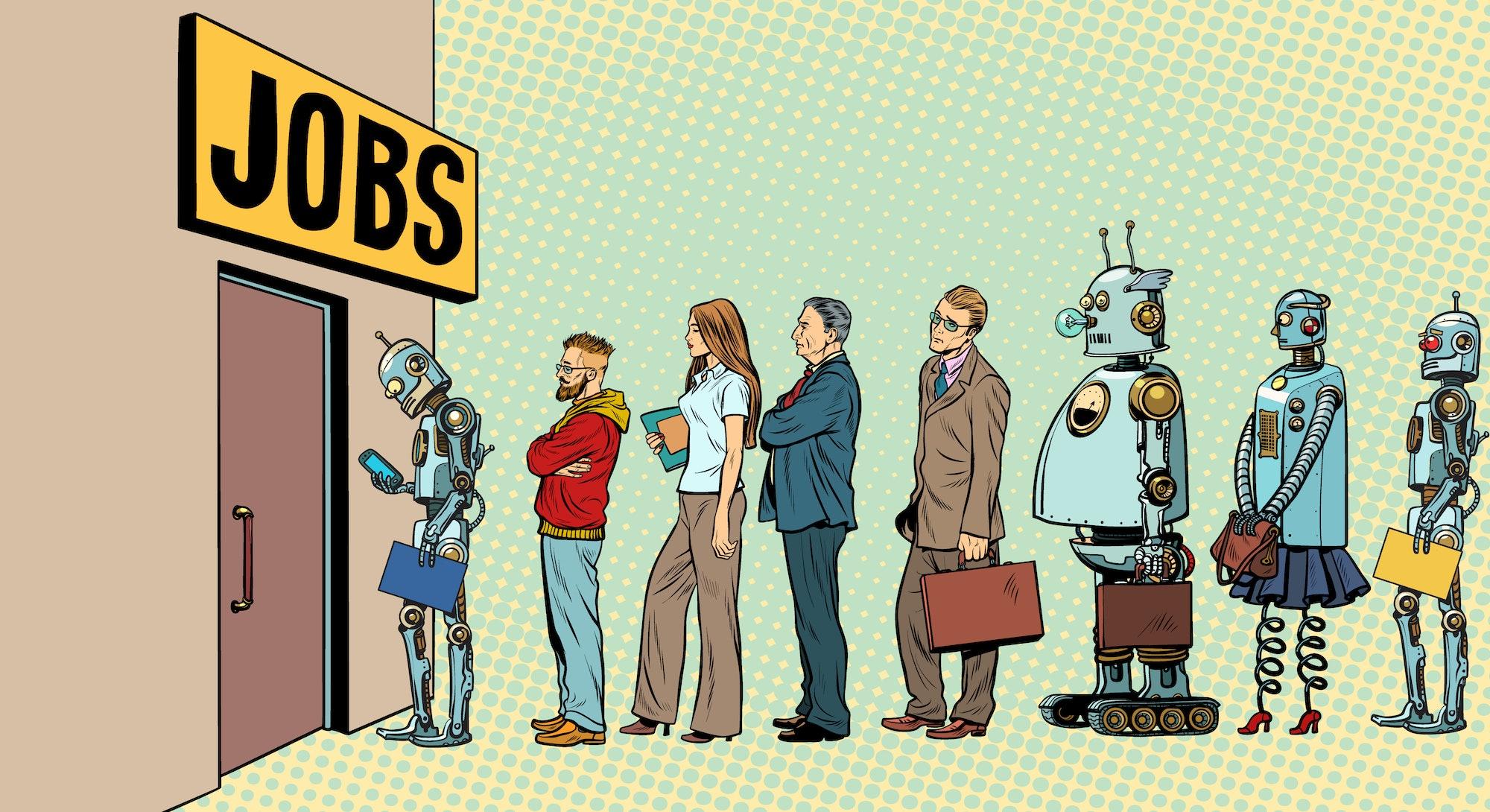 人和机器人争夺工作的竞争。技术革命。数字世界中的失业问题。波普艺术复古矢量插图