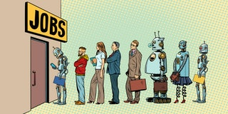 competition of people and robots for jobs. technological revolution. Unemployment in the digital wor...