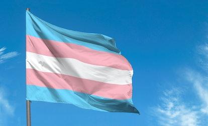 Transgender flag waving against blue sky, transgender pride flag in a street