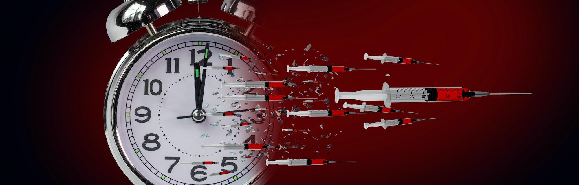 vaccine vaccination  time clock breaking exploding  in piecies - 3d rendering