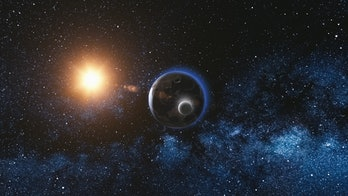 Sunrise view on Rotating Planet Earth and Moon. Milky way with thousand stars in the background. High detailed 3D Render animation. Elements of this image furnished by NASA. Astronomy and science