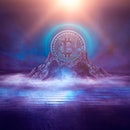 Dark, night abstract fantasy landscape with island, pyramids, bitcoin and lightning. Reflection of n...