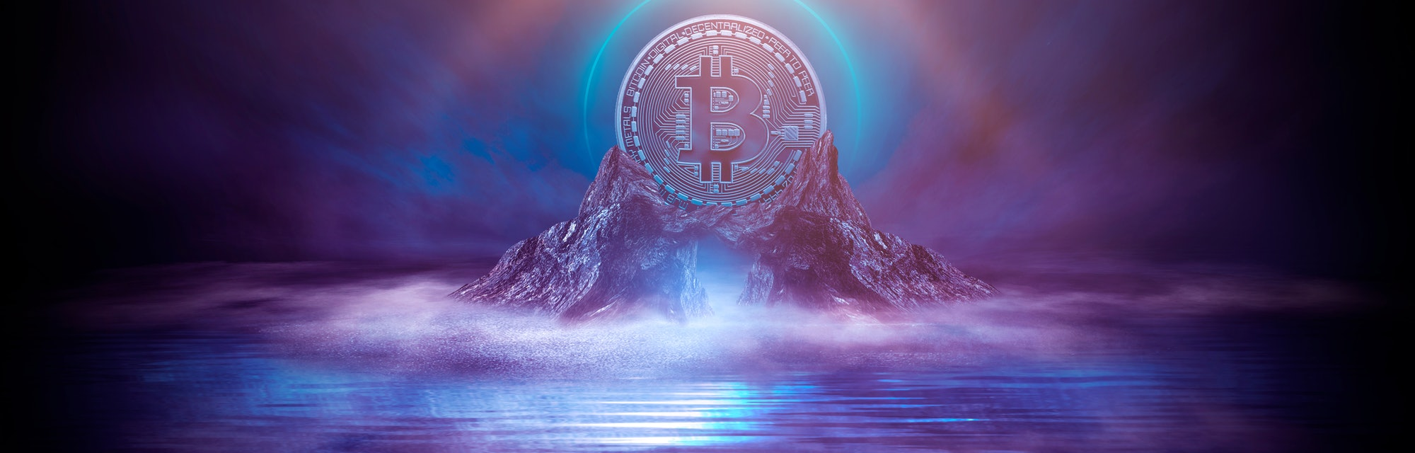 Dark, night abstract fantasy landscape with island, pyramids, bitcoin and lightning. Reflection of neon in water, sea, ocean. Smoke, smog on the shore. A modern futuristic landscape with bitcoin. 3d