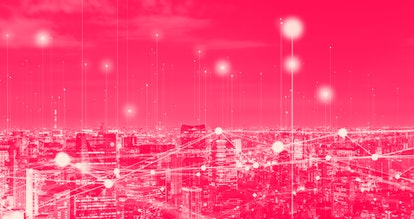 Modern cityscape and communication network concept. Telecommunication. IoT (Internet of Things). ICT...