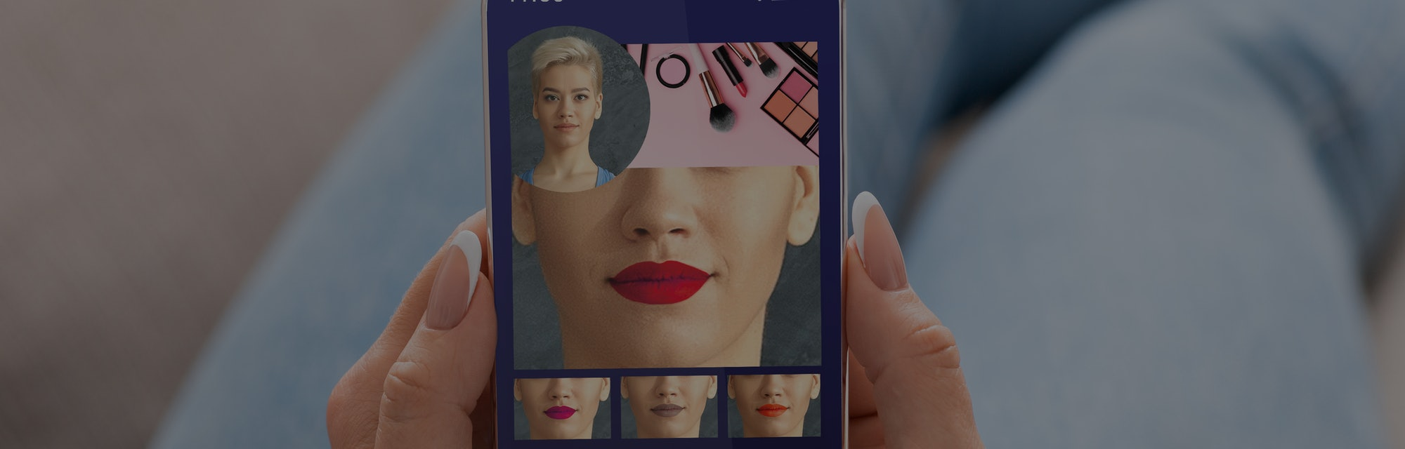 Augmented Reality Beauty App. Woman Trying Different Lipstick Color Online On Smartphone, Using Mode...