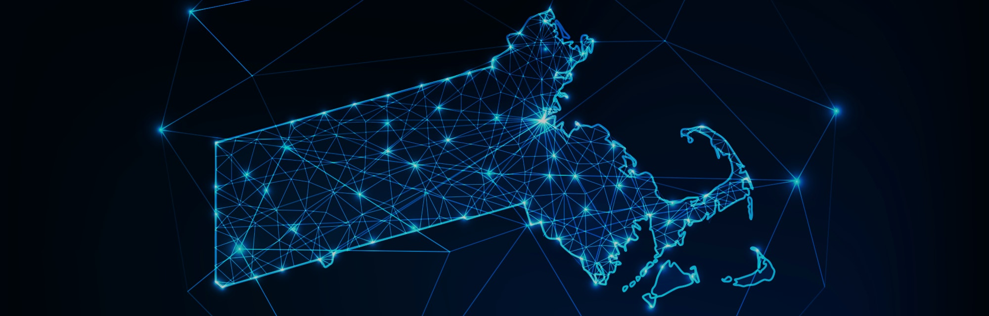 Massachusetts state USA map glowing silhouette outline made of stars lines dots triangles, low polygonal shapes. Communication, internet technologies concept. Wireframe futuristic vector illustration