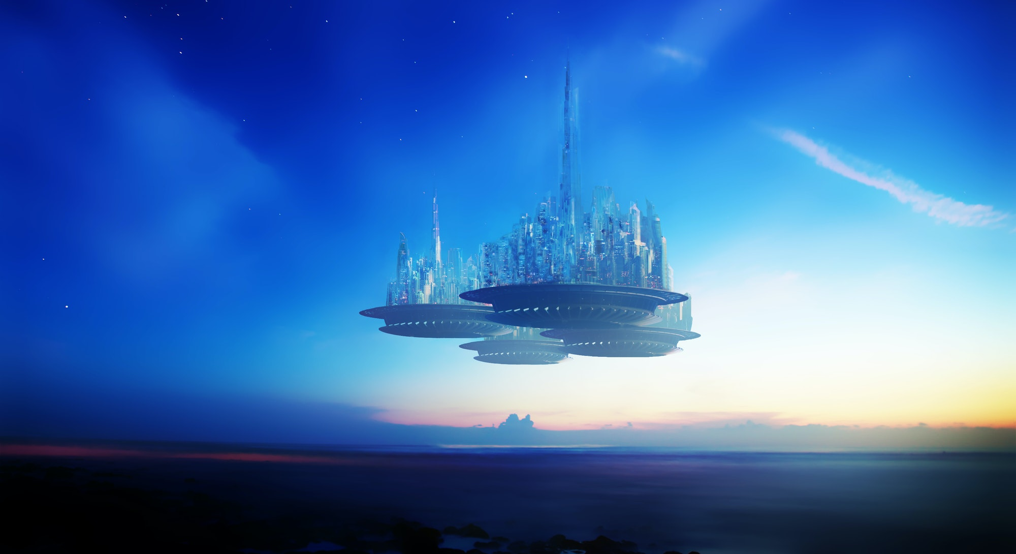 Fictional city of the future. Portrait of a Utopian society.