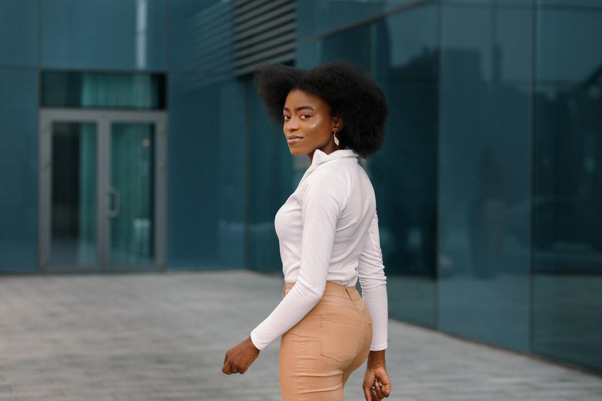 African American black woman walks away