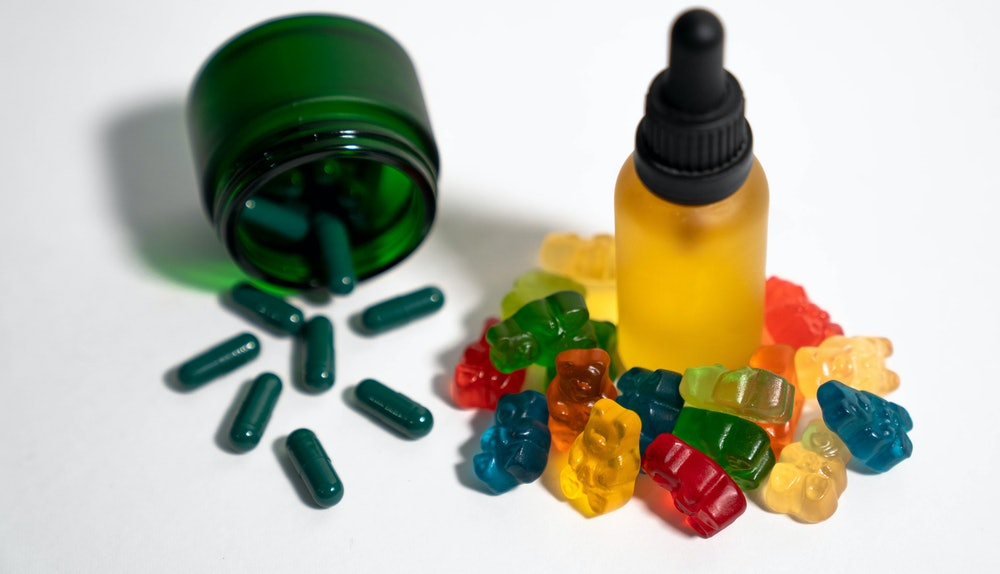 Hemp CBD Gummies, Hemp CBD Oil & Hemp CBD Capsules in Jar. Great for overlaying labels or logos!