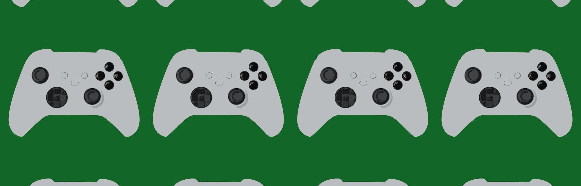 Game controller illustration on green background