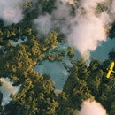 Sustainable habitat world concept. Distant aerial view of a dense rainforest vegetation with lakes i...
