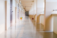 High School hallway corridor in College or university empty hall at classroom, no people student whi...