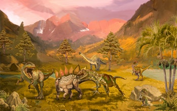 Scene with dinosaurs Asteroid explosion at the end of the prehistoric Jurassic, Cretaceous or Triass...
