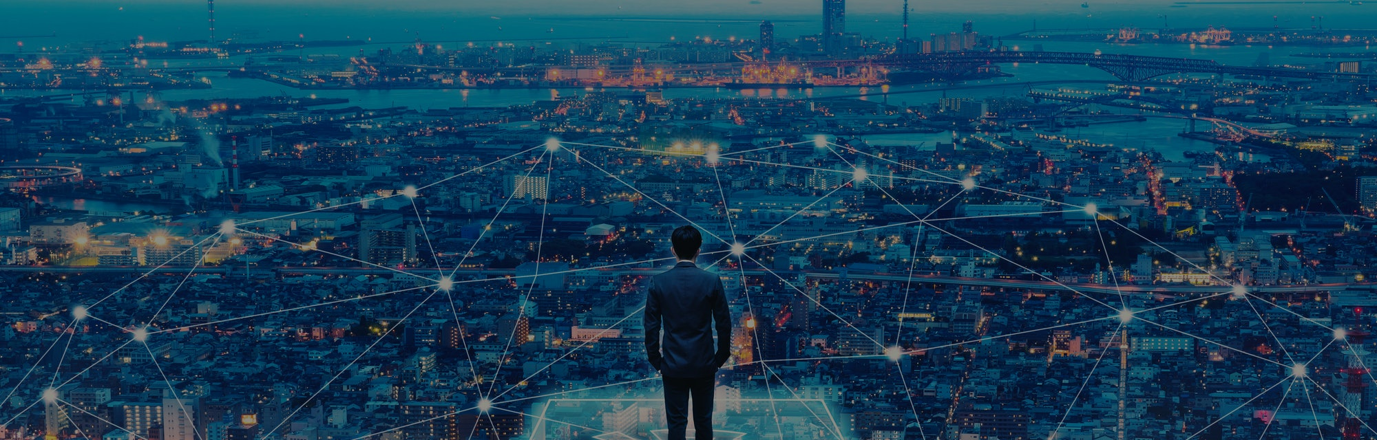 Business technology concept, Professional business man walking on future network city background and...