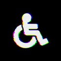 Symbol wheelchair has defects. Glitch and stripes