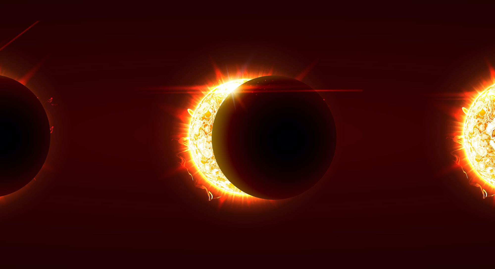 Sun eclipse, total and partial solar eclipse, several phases. Sun, moonandearthare nearly aligned on a straight line. Vector illustration, eps10