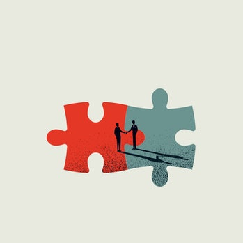 Business merger and acquisition vector concept with businessmen shaking hands, end of negotiation, s...