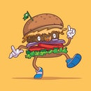 Vector Mascot Character Plant Based Burger with Happy Face Cartoon Illustration Style