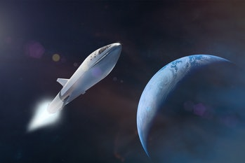 Starship taking off on a mission on background of Earth planet. Elements of this image furnished by ...