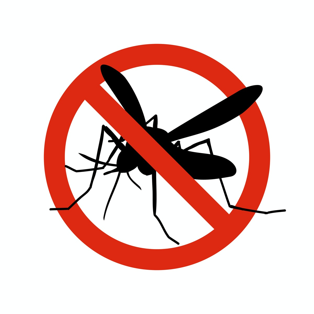 Mosquito warning prohibited sign. Anti mosquitoes, insect control vector symbol. Stop and control mo...