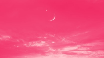 Crescent moon with beautiful sunset background . Generous Ramadan . Light from sky . Religion backgr...