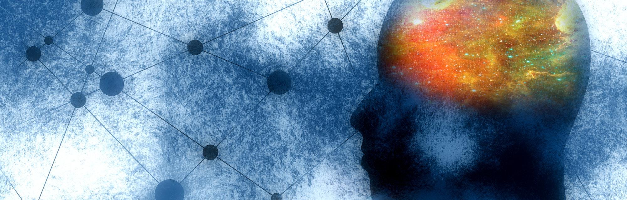 Silhouette of a man's head. Mental health relative brochure, report design. Scientific medical desig...
