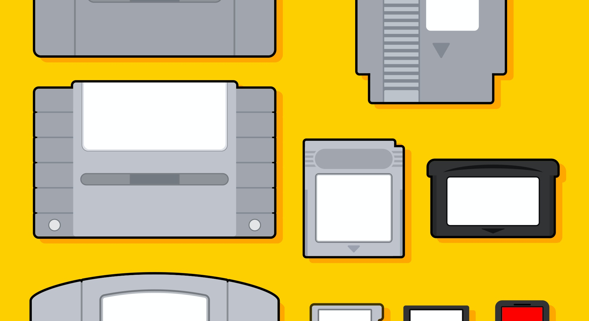 Collection of video game cartridges. Evolution of game cartridges. Entertainment media technology fo...