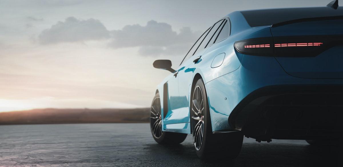 Luxury sedan car sunset scene (non-existent car design, full generic) tail lights detail - 3d illust...