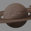 saturn planets in deep space with rings  and moons surrounded. isolated with clipping path on white ...