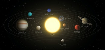 Solar system model, scheme in space with scope, planets orbits, distances to sun, stars, asteroids. ...