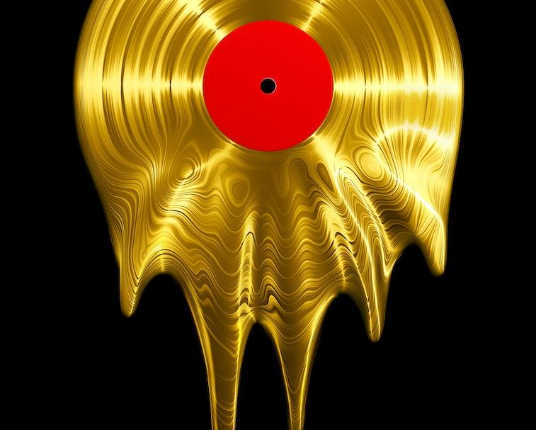 Melting gold vinyl record / 3D render of vinyl record melting
