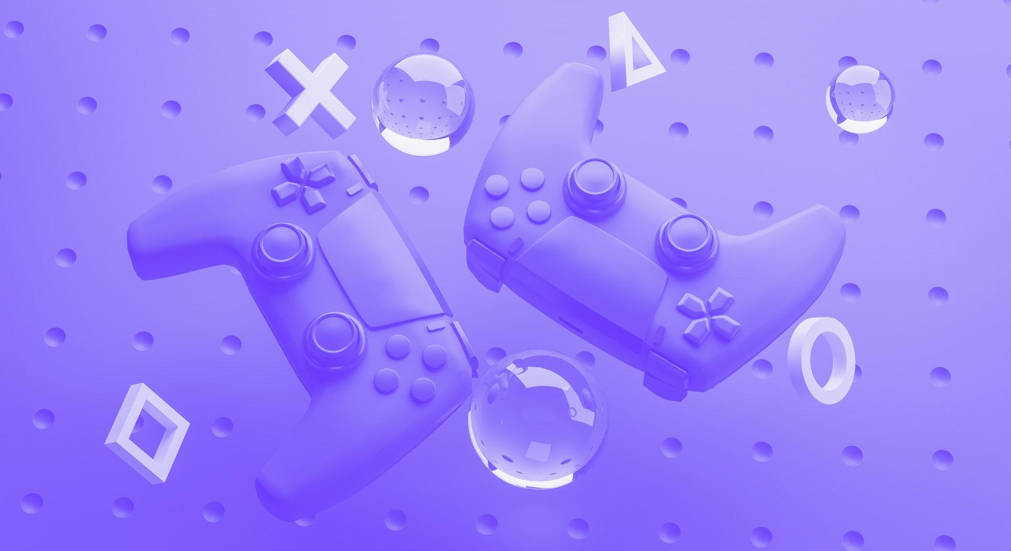 Digital Art of Blue Gamepad Background 3D Rendering