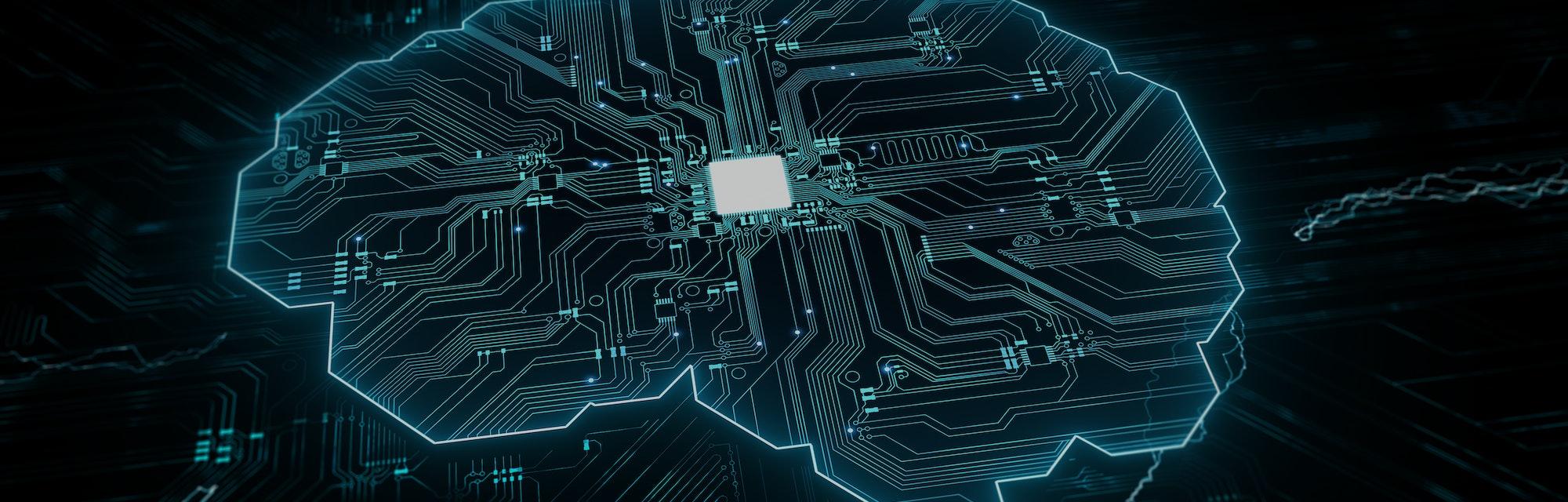 Artificial intelligence (AI), data mining, deep learning modern computer technologies.  Futuristic C...