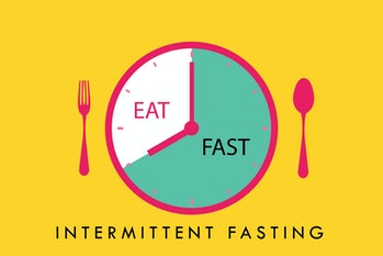Intermittent fasting concept, clock with eating and fasting hours. Intermittent Fasting often use fo...