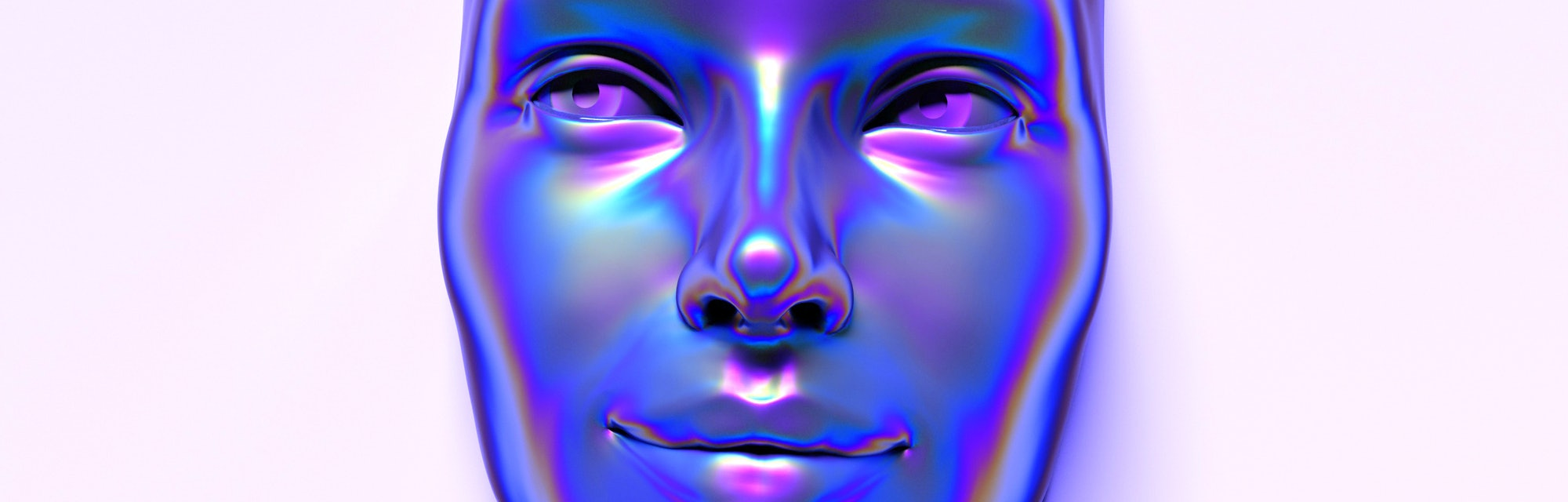 Abstract 3D render illustration of holographic human face in the wall, robotic head made of glossy i...