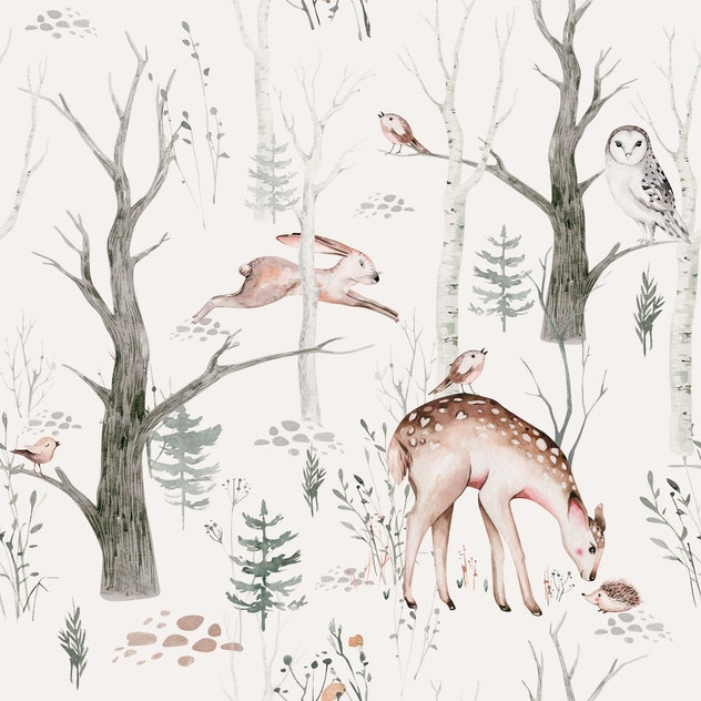 Image of a wallpaper cut-out. The wallpaper is painted with images of trees and forest animals like ...