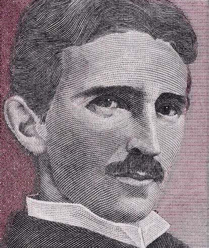 Nikola Tesla portrait on Yugoslavia 5 dinars(1994) banknote close up macro, Yugoslavian money closeu...