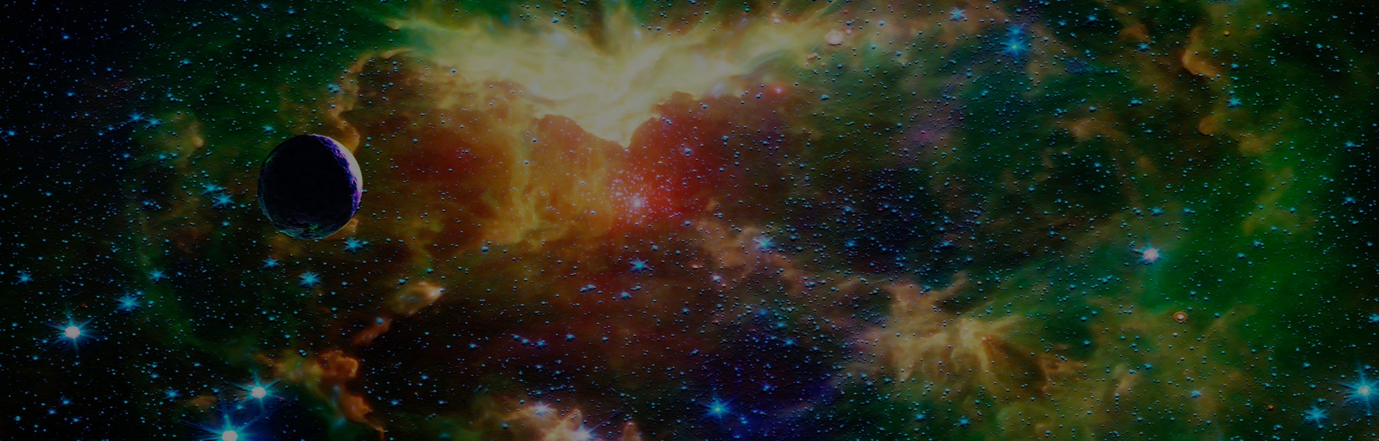 Abstract outer space fantasy art depicting a lonely rogue planet on it's long sunless journey throug...