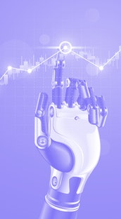 Robot or cyborg hand taps finger on chart of trading data of forex stock exchange. App or software w...
