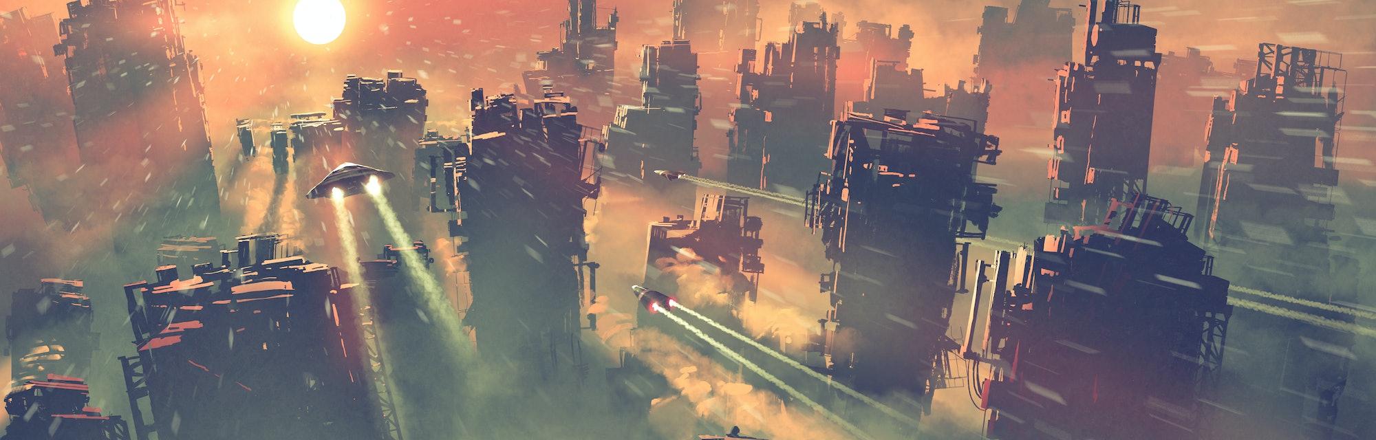 post apocalypse scenery showing of spaceships flying above abandoned skyscrapers, digital art style,...