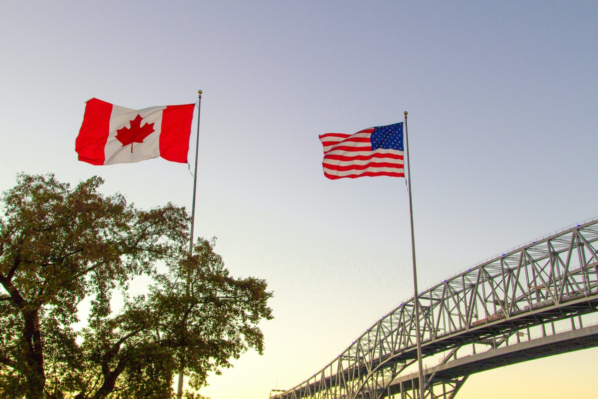 International Border Crossing. Sunset at the Blue Water Bridge border United States and Canada cross...