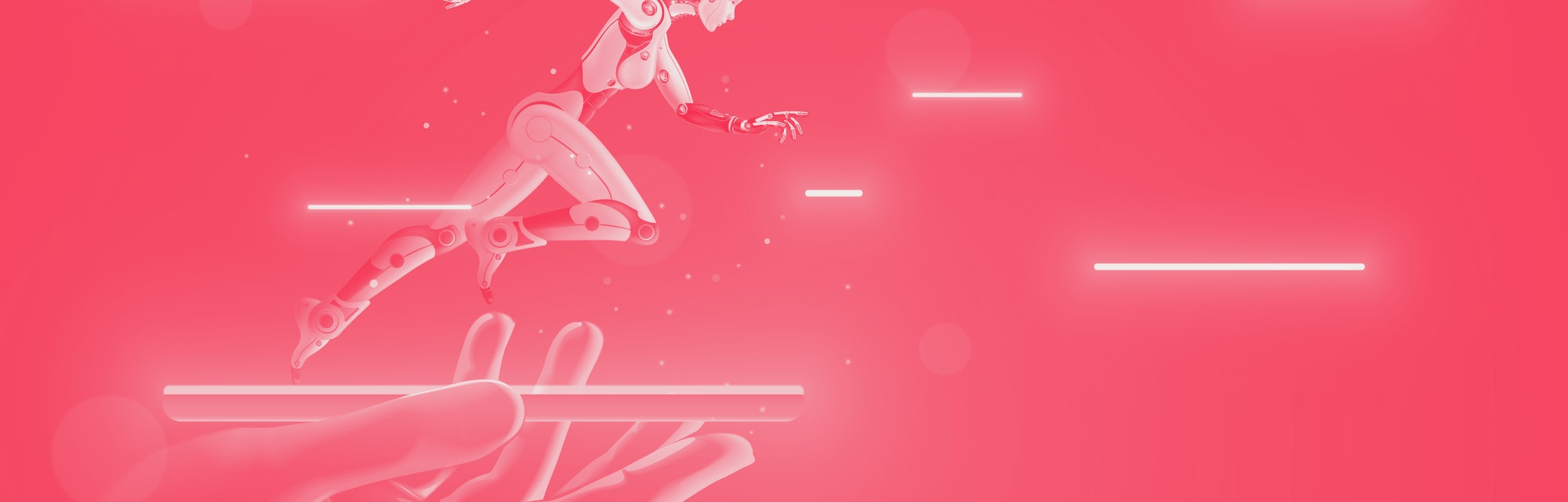 AI Robot cyborg running on screen smartphone in hand. Cybernetic girl accelerates in cyberspace. Art...