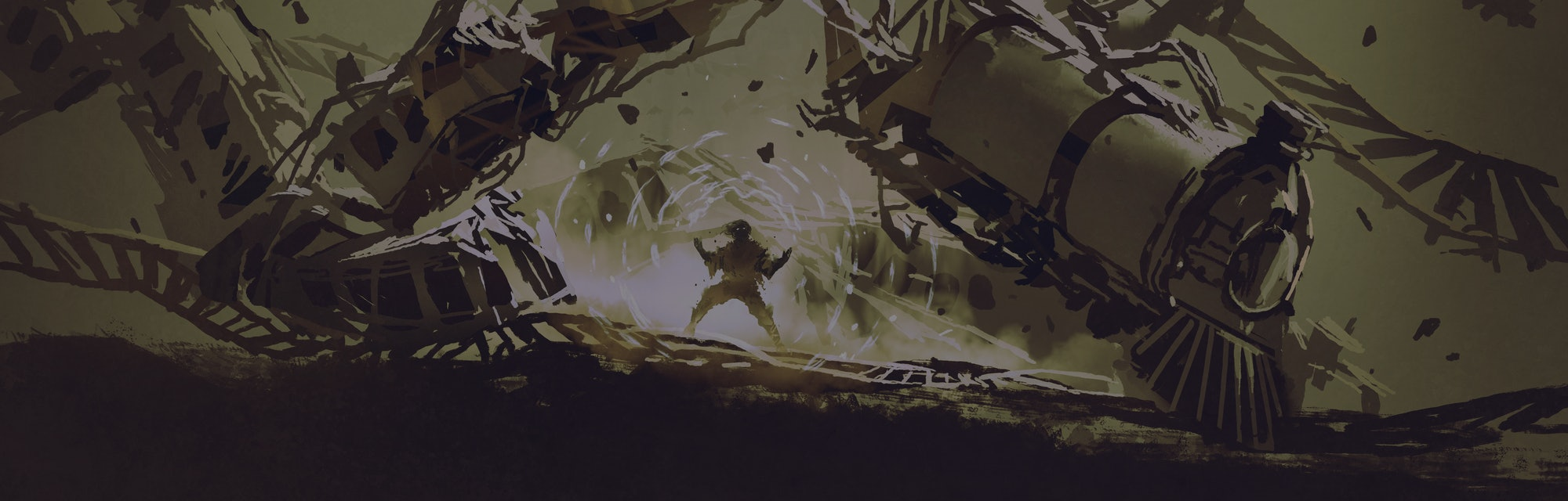 the man powering up his energy to destroy the train, digital art style, illustration painting