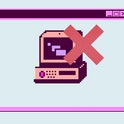 Computer virus concept. Icon of old retro PC in pixel art 8-bit style and cross above it.