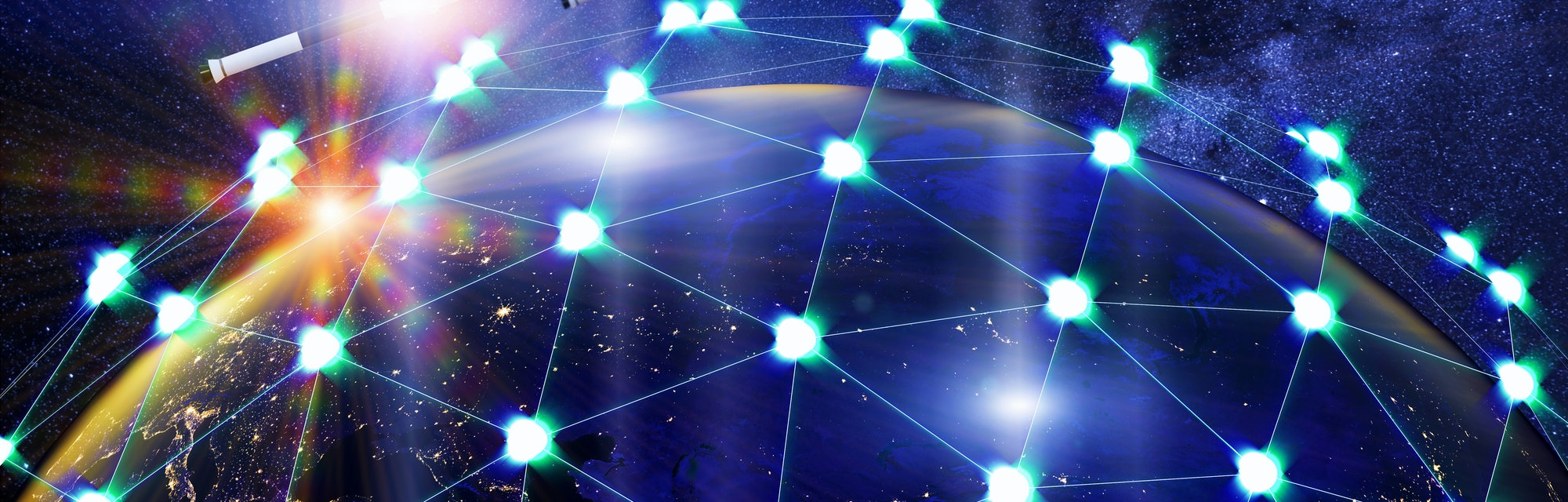 A network of linked satellites orbiting the earth. Global satellite internet service concept.3d ill...